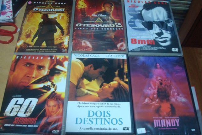 11 dvds originais de nicolas cage , tesouro,60 segundos,rochedo
