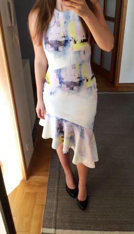 sukienka 38 M asos wielokolorwa biała elegacka z falbanką na ramiączka