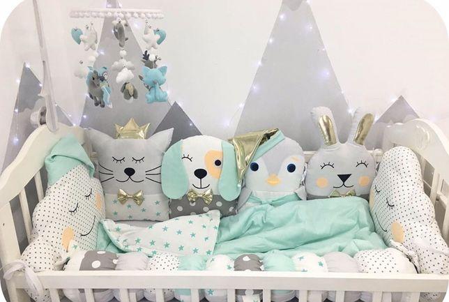 Бортики звірята іграшки зверята защита постель в кроватку игрушки