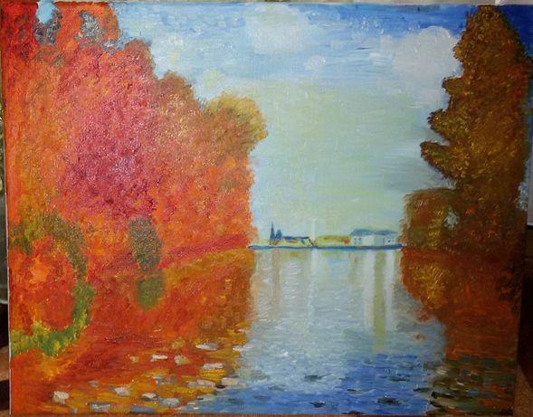 Картина масло «Осень в Аржантее»,картина холст. масло