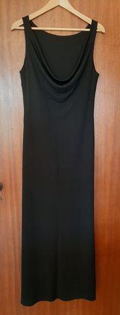 Vestido preto de malha comprido sem mangas  C&A
