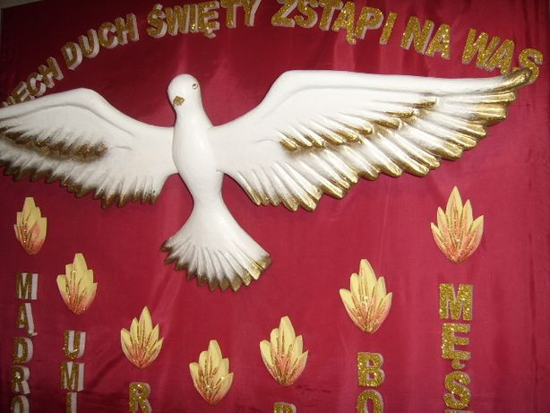 Gołębica przestrzenna dekoracja bierzmowanie Pierwsza Komunia