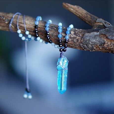 Naszyjnik Aqua Aura, Amazonit, Jadeit, Hematyt, kamienie naturalne