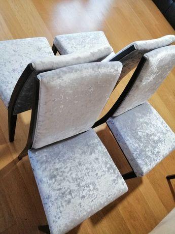 6 cadeiras veludo prateado
