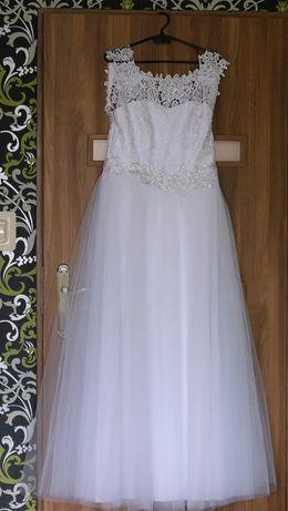 Suknia Ślubna Biała 40 42 Koronka