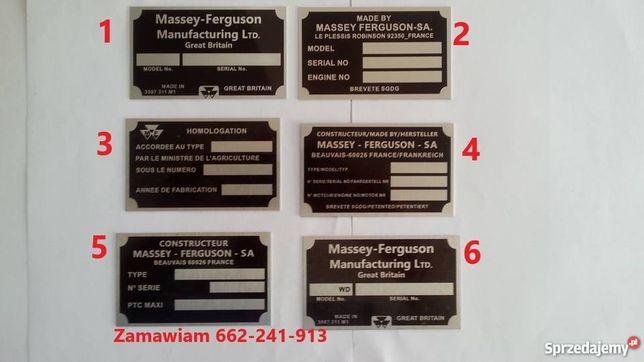 Massey ferguson mf tabliczka znamionowa zastępcza