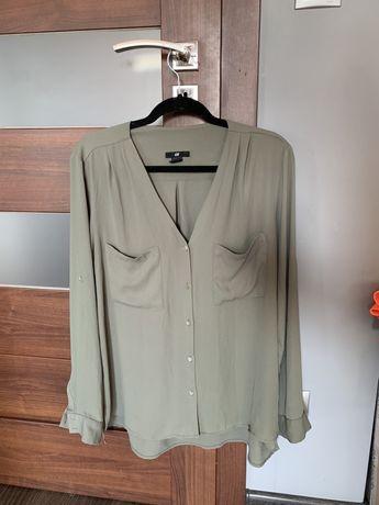 Khaka oversizowa koszula z dekoltem V H&M. Koszula dekolt V