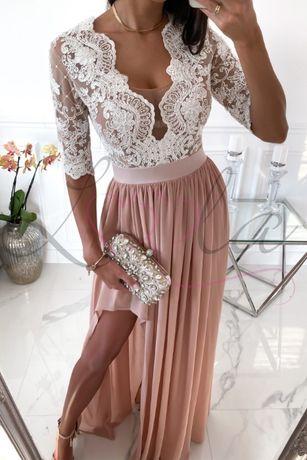 Sukienka KITTY - Długa beżowa suknia z koronką rozmiar xs