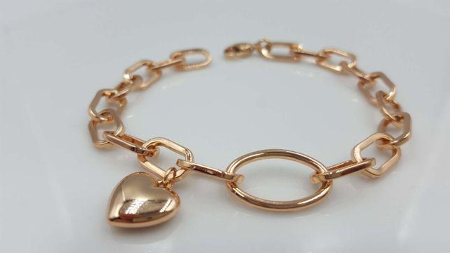 Bransoletka złota stal chirurgiczna 18 k serce