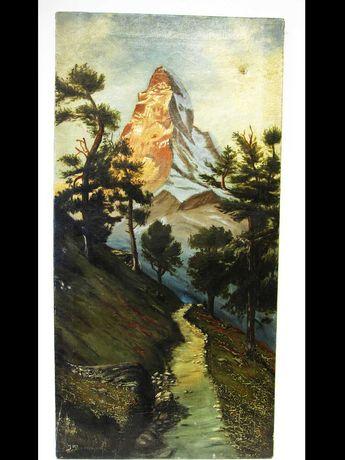 antiga pintura -óleo-paisagem suíça com Matterhorn-assinada J. Bornand