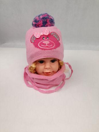 Czapka wiązana zimowa plus komin komplet dla dziewczynki