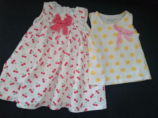 Zestaw ubranek dla dziewczynki 80 bluzka Cool Club sukienka 5.1.15