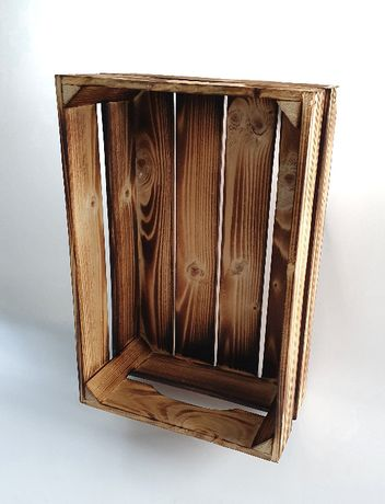 skrzynka drewniana opalana ozdoba balkon