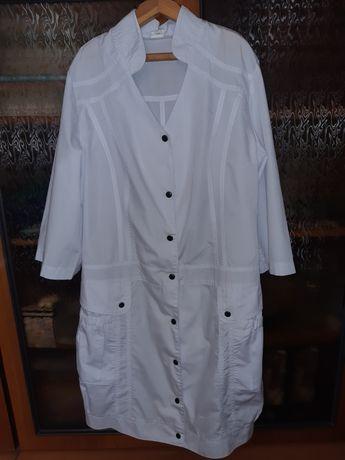 Белоснежный халат для повара размер 46-48 с колпаком,в подарок фартух