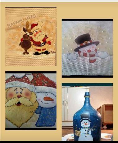 Presentes de Natal: pegas panos de cozinha, aventais, garrafões
