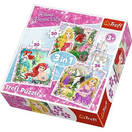 Puzzle 3w1. Disney Księżniczki. Roszpunka, Aurora i Arielka
