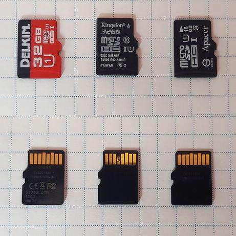 Карти пам'яті microSD 16Gb/ 32Gb DELKIN, Kingston, Apacer