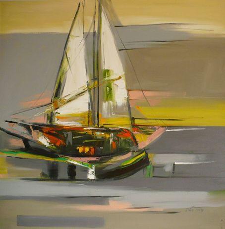 Abstrakcja z łodzią - Dorota Łaz - olej o wym: 100x100