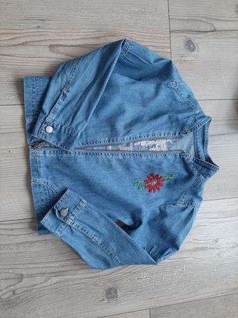 Jeansowa kurtka 122 jeans kwiaty zamek