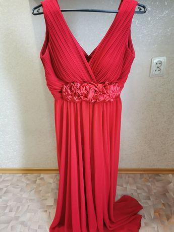Платье красное, свадебное,платье, мех
