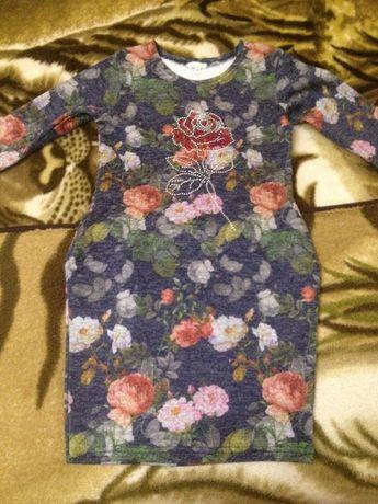 Тёплое платье с карманами рост 146
