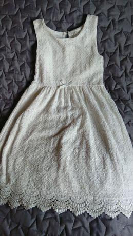 Sukienka koronkowa dziewczęca biała H&M