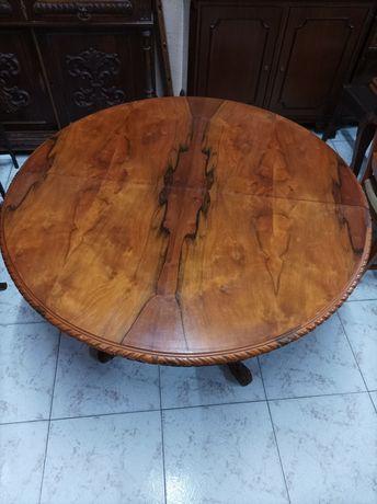 Mesa jantar redonda oval extensível antiga clássica pé de galo