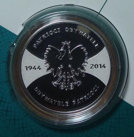 Patrioci obywatele 1944 - 2014 20 zł. Moneta srebrna. Stan menniczy.