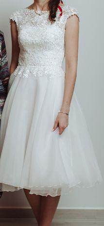 krótka skromna biała suknia ślubna poprawiny cywilny XS S 34 36