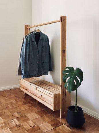 Charriot de madeira maciça - peça única