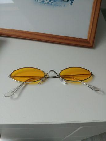 Nowe żółte okulary owalne lenonki retro vintage tumblr