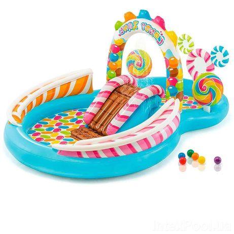 Детский надувной игровой центр бассейн с горкой Карамель