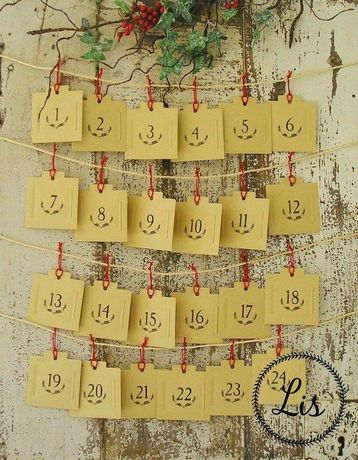 Calendário do Advento, 24 bolsas de papel,cada bolsa inclui 1 mensagem