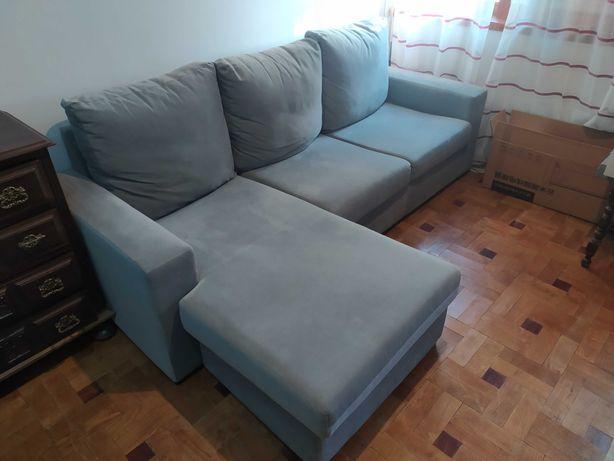 Sofá 3 lugares - chaise long. Como novo