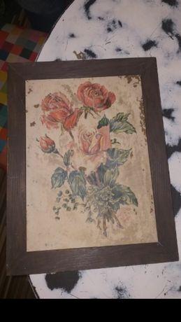 Bardzo stary obrazek ręcznie malowany na papierze z sygnaturą w ramce