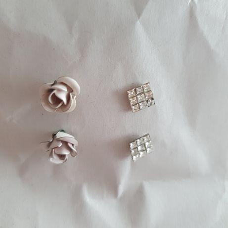 Kolczyki wkrętki róże beżowe kwadraciki z cyrkoniam