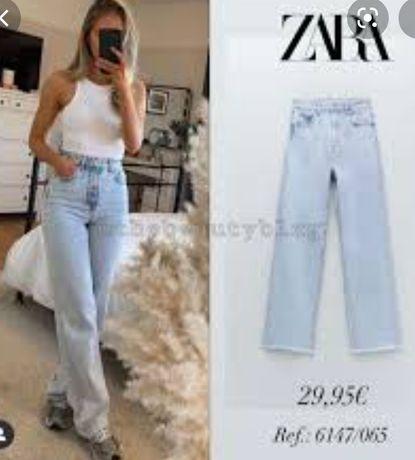 Zara джинсы Z1975 прямые высокая посадка голубые 38 Зара