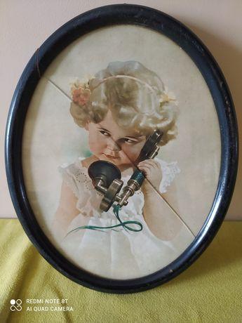 """Piękny stary obraz. """"Dziewczynka ze słuchawką"""" Starocie. Przedwojenne."""
