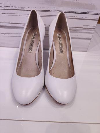 Buty białe ślubne r. 38