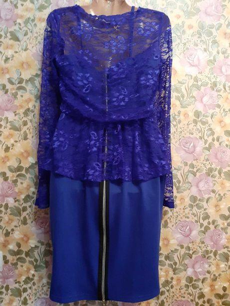 Платье с блузой туникой гипюр 48рр