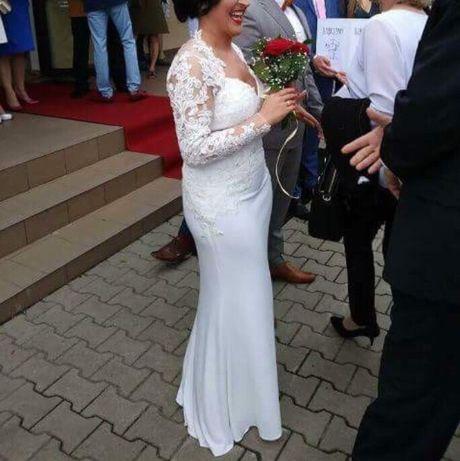 Suknia ślubna rozm. 38 długi rękaw, koronka