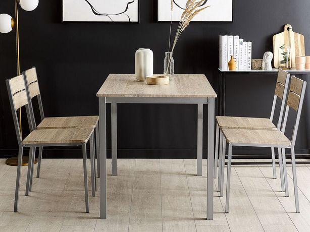 Conjunto de jantar castanho claro e branco com 4 cadeiras e mesa 110 x 70 cm BLUMBERG - Beliani