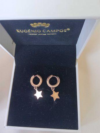 Brincos prata rosa Eugénio Campos estrelas douradas com caixa e saco