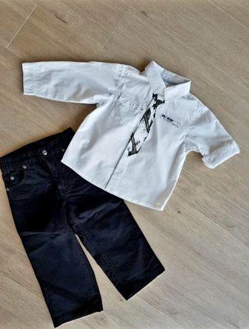 Zestaw biała koszula czarne jeansy rozm. 92 H&M C&A