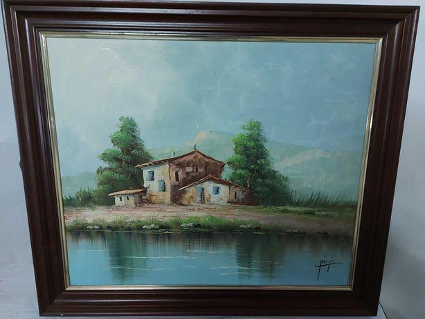 Pintura a Óleo Casa junto ao Lago