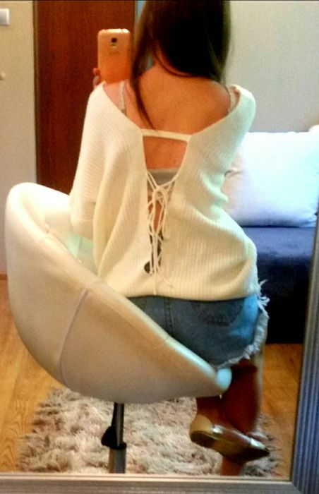 Kremowy sznurowany sweter shein Bolków - image 1