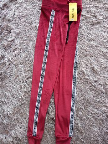 Spodnie welur bordowe