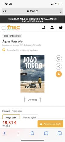 Livro Aguas Passadas de João Tordo