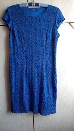 Sukienka chabrowa,  koronkowa,śliczna