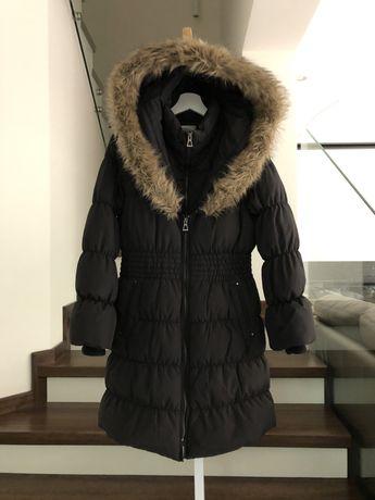 Hawke&Co Tk maxx płaszcz puchowy z kapturem z futerkiem S M czarny